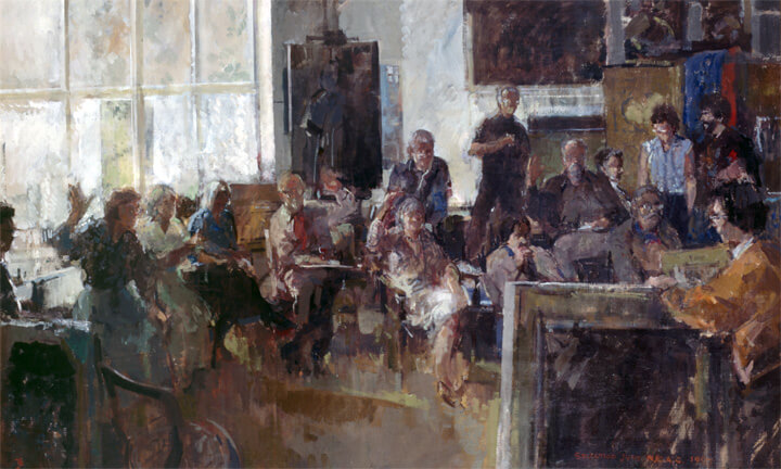 "Painting by Tom Coates, NEAC entitled ""The Selecting Jury of the New English Art Club"". Edward is pictured in the middle of the painting with his left hand raised."