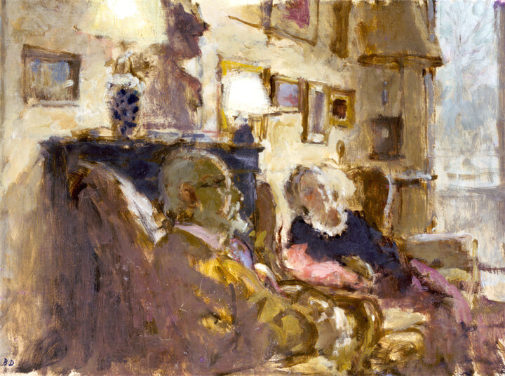 Oil painting by Bernard Dunstan, RA of Edward and Celeste in their living room in Hampstead in 1989.