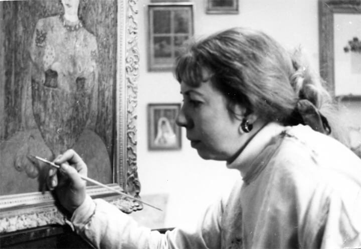 Celeste painting at her easel which was taken around 1970 by Edward with his favourite Leica camera.